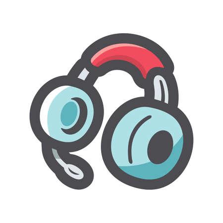 Headphones Earphones with headset Vector icon Cartoon illustration.