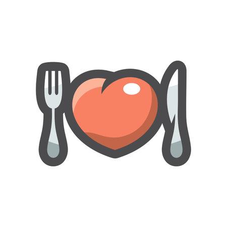 Heart breaker Cutlery Vector icon Cartoon illustration. 矢量图像