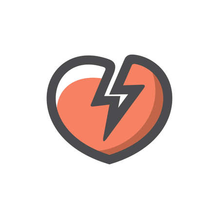 Stop Love Dislike Heart breake Vector icon Cartoon illustration. 矢量图像