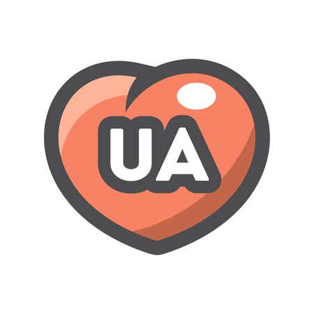 UA with heart Shape Vector icon Cartoon illustration.
