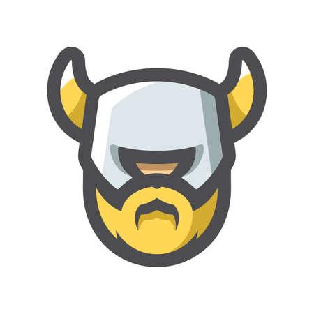 Viking Warrior Helmet Head Vector icon Cartoon illustration.