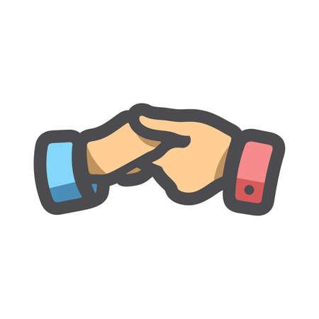 Handshake Teamwork Help Hands Vector Cartoon illustration.