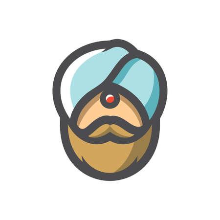 Indian Men Head Headwear Vector icon Cartoon illustration