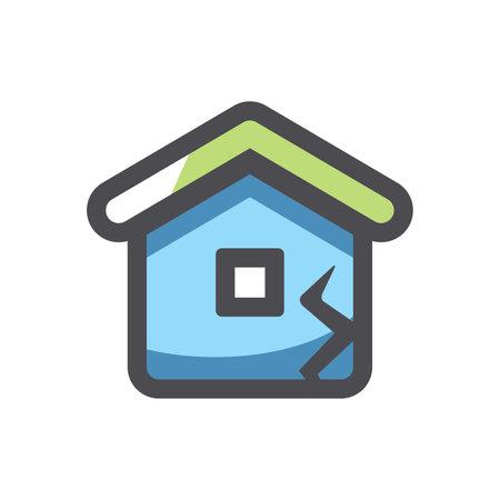 Broken House Home Destruction Vector icon Cartoon illustration