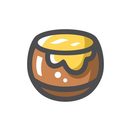 Honey Pot Sweet Dessert Vector icon Cartoon illustration
