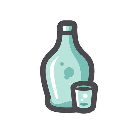 Moonshine Liquor Jug Vector icon Cartoon illustration