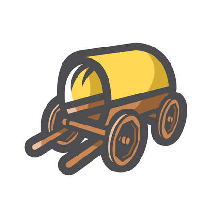 Horse Cart with awning Vector icon Cartoon illustration.