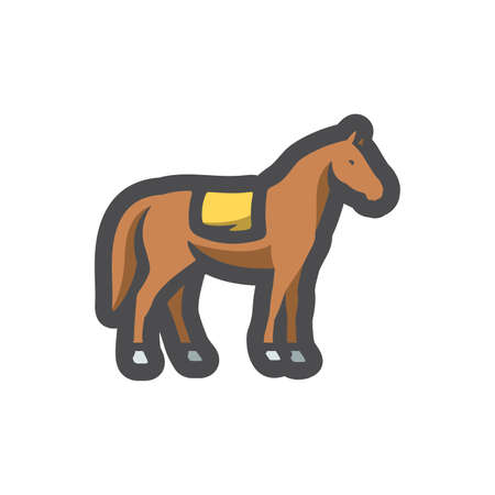 Horse with Saddle silhouette Vector icon Cartoon illustration.