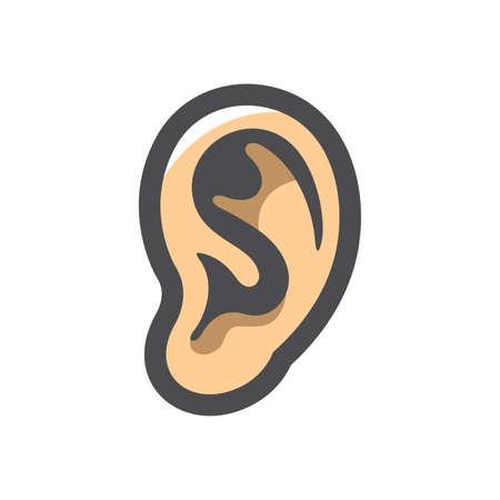 Human Ear Organ Vector icon Cartoon illustration