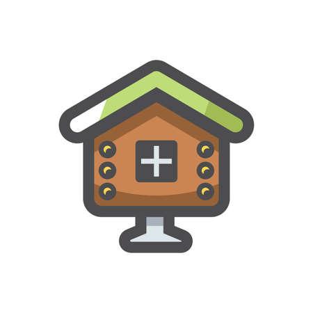 Fairy Hut Wooden house Vector icon Cartoon illustration 矢量图像