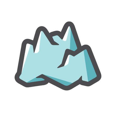 Iceberg Mountain Ice Vector icon Cartoon illustration