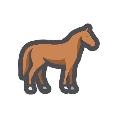 Horse Farm animal silhouette Vector icon Cartoon illustration. 矢量图像