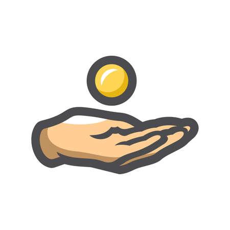 Donation Hands Giving Vector icon Cartoon illustration 矢量图像