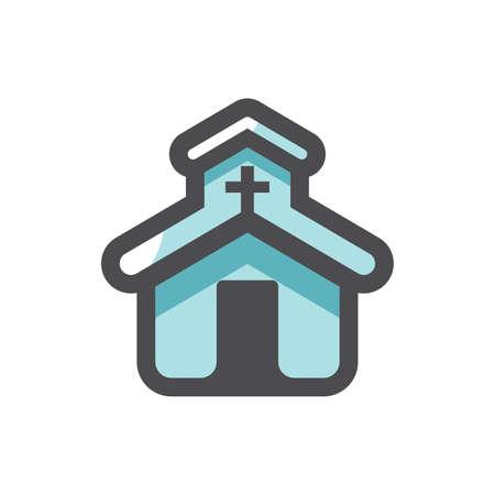 Church catholic House of Prayer Vector icon Cartoon illustration