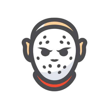 Crazy maniac. Halloween Mask. Vector Cartoon illustration.