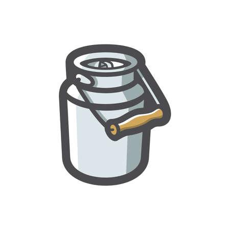 Milk Can barrel Vector icon Cartoon illustration