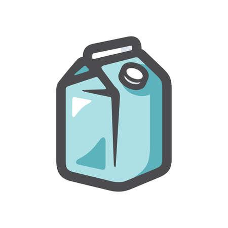 Milk carton box with screw cap Vector icon Cartoon illustration