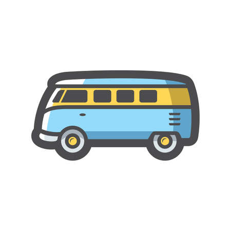 Retro travel Van Vector icon Cartoon illustration