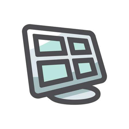 Security Monitor Control station Vector icon Cartoon illustration