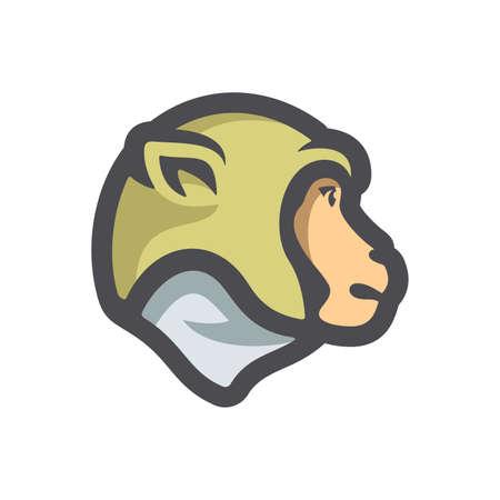 Monkey Head Chimp Vector icon Cartoon illustration