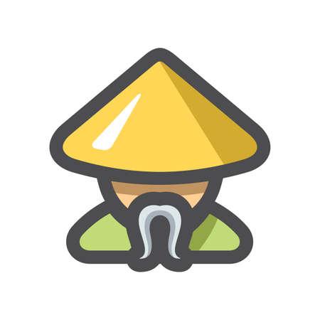 Shaolin Monk men Vector icon Cartoon illustration 矢量图像