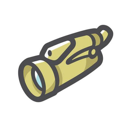 Spyglass military vision device Vector icon Cartoon illustration