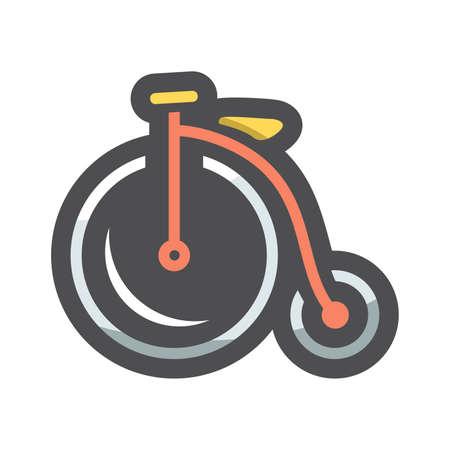 Vintage old Bicycle Vector icon Cartoon illustration.