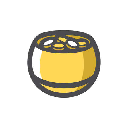 Pot with gold coins Vector icon Cartoon illustration