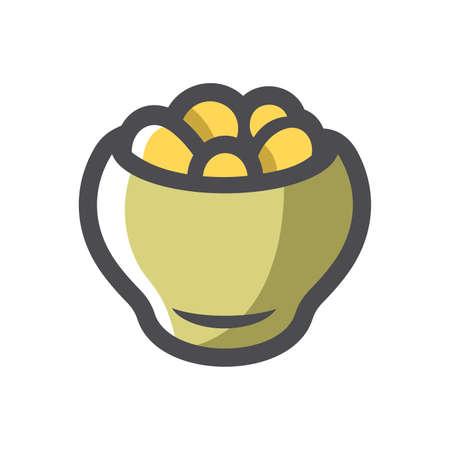 Potatoes in a pot Vector icon Cartoon illustration 矢量图像