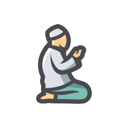 Muslim Prayer pray Vector icon Cartoon illustration