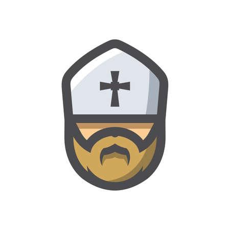 Priest Religion men Vector icon Cartoon illustration.