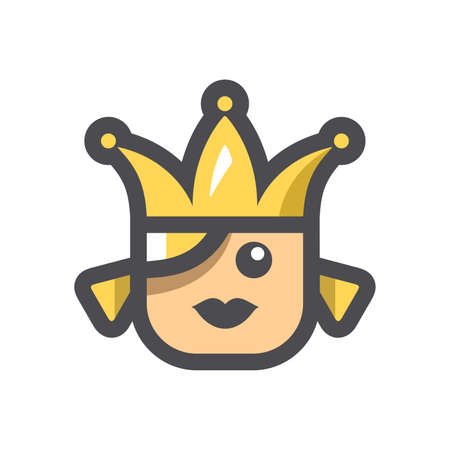 Beauty Queen with Crown Vector icon Cartoon illustration 矢量图像