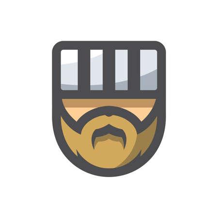 Prisoner Men Head Vector icon Cartoon illustration