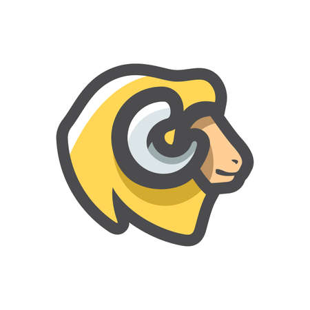 Ram Sheep Face Vector icon Cartoon illustration