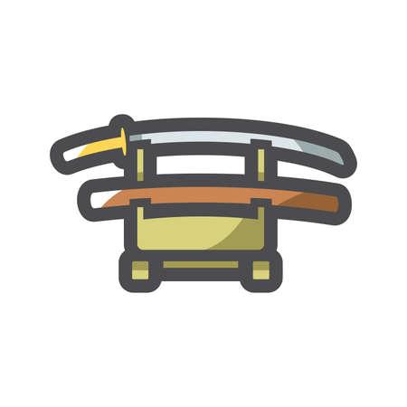 Samurai sword Stand Vector icon Cartoon illustration.