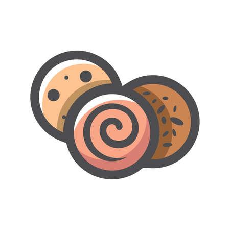 Sausage Slice Salami Vector icon Cartoon illustration. 矢量图像