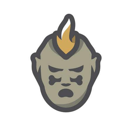 Tribal Warrior Cannibal Vector icon Cartoon illustration. 矢量图像