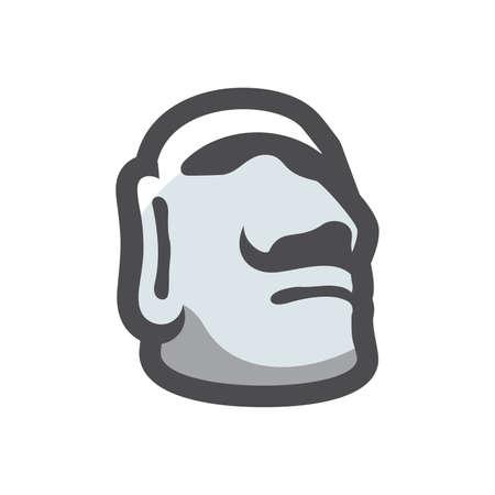 Stone Head Easter Island Vector icon Cartoon illustration. 矢量图像