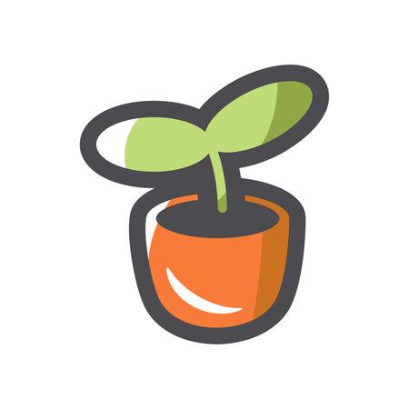 Plant growth Seedling Vector icon Cartoon illustration.