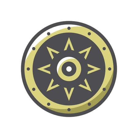 Viking Shield Protection Vector icon Cartoon illustration