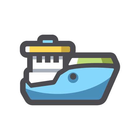 Fishing big Ship Vector icon Cartoon illustration 矢量图像