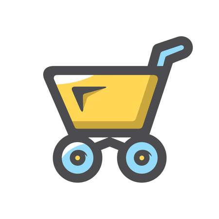 Shopping yellow Cart Vector icon Cartoon illustration
