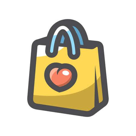 I Love shopping Vector icon Cartoon illustration