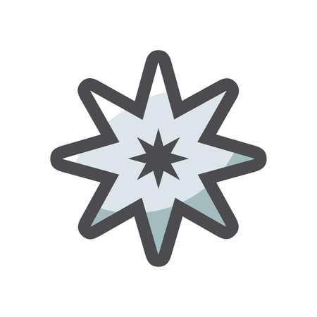 Tattoo gray Star Vector icon Cartoon illustration