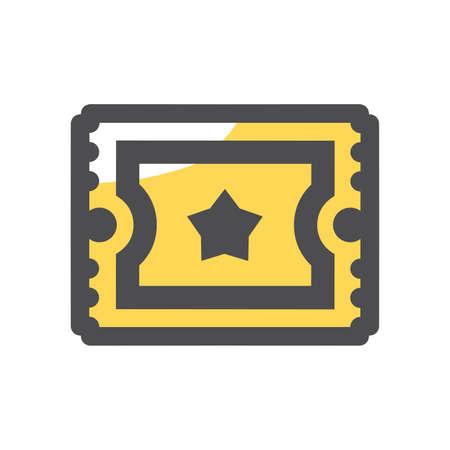 Retro cinema ticket Vector icon Cartoon illustration