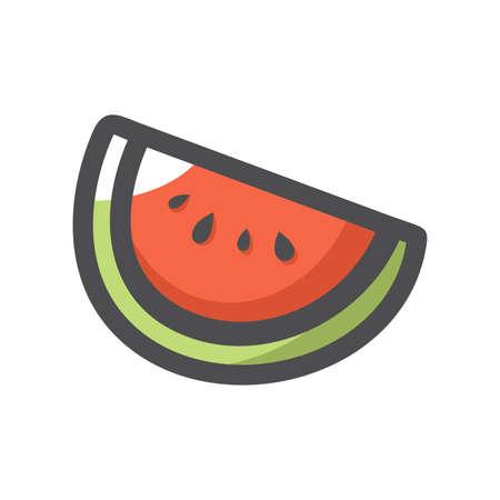 Slice of Watermelon Vector icon Cartoon illustration.