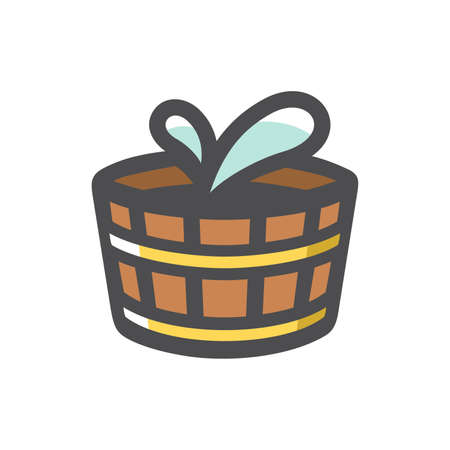 Wooden Water Tub Vector icon Cartoon illustration.