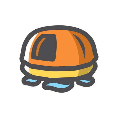 Rescue lifeboat orange Vector icon Cartoon illustration.