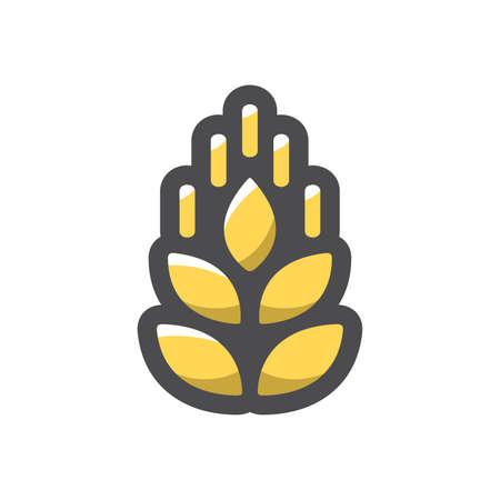 Wheat gold ear Vector icon Cartoon illustration.