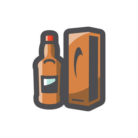 Whiskey bottle and box Vector icon Cartoon illustration.